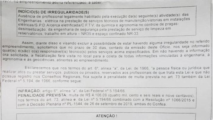 Ofício recebido do CREA sobre indícios de irregularidades